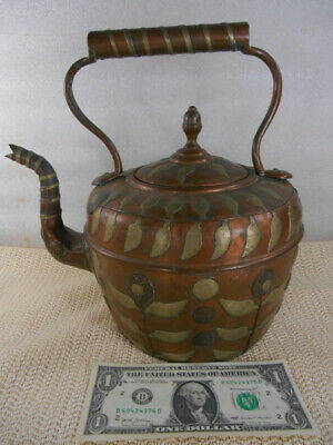 Signed MAURICE COHEN LONDON Antique COPPER TEA KETTLE w Applied SILVER FLOWERS