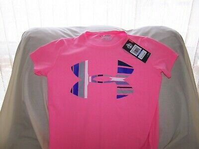 Girls Under Armour Pink Short Sleeve BIG LOGO Shirt XLarge LOOSE FIT NWT