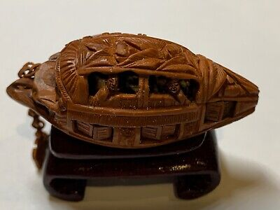 "Chinese Olive pit nut stone carved boat stand 2"" shuttered windows anchor chain"
