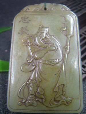Chinese Antique Celadon Nephrite Hetian-OLD Jade GUANG-GONG  Statue/Pendant