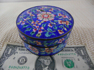 "Antique CHINESE CLOISONNE Enamel Round BOX 3 3/4 x 1 7/8"" COBALT & PINK FLOWERS"