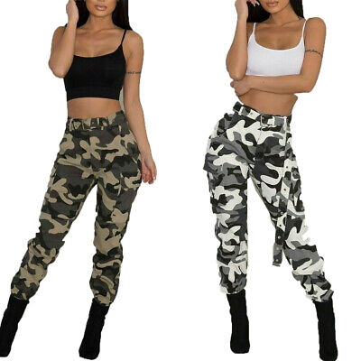 Womens Camo Cargo Trousers Straight Pants Military Army Combat Camouflage Print#