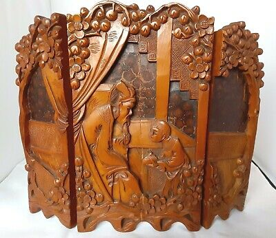 """12"""" Triptych Antique Asian Screen Divider 3-Panel High Relief Carved Wood"""