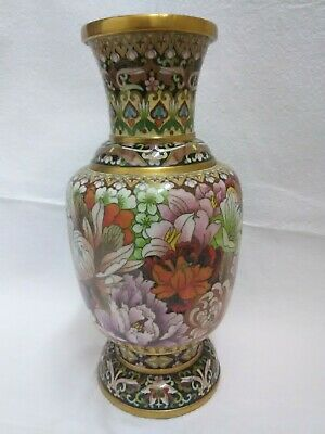 """Beautiful Old Chinese Cloisonne Vase On Copper  10"""""""