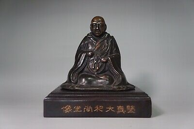 Fine Chinese Antiques Copper Jian Zhen the Great Monk Statue Qing Dynasty