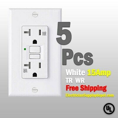 GFCI 15 AMP GFI (5PACK)Receptacle Outlet TAMPER RESISTANT TR WR WHITE UL GFCI