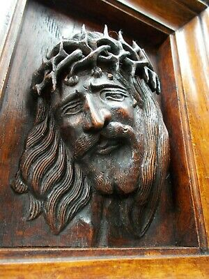 Antique Hand Carved Wooden Figure Head Of Jesus Christ~Religious~Church~Gothic