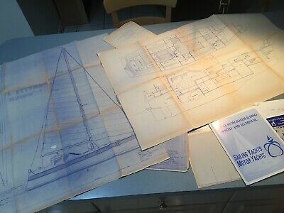 SET 7 Nautical Plans BLUEPRINTS OF BOAT SAILING YACHT 1990'S W/EXTRA PAMPHLETS