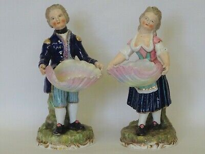 Pair 19thC STEVENSON & HANCOCK, DERBY FIGURES with Shells - Salt Cellars?