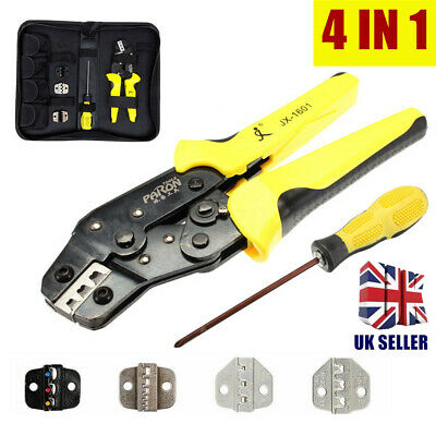 Professional 4 in 1 Wire Crimper Pliers Ratcheting Terminal Crimping Tool Kit UK