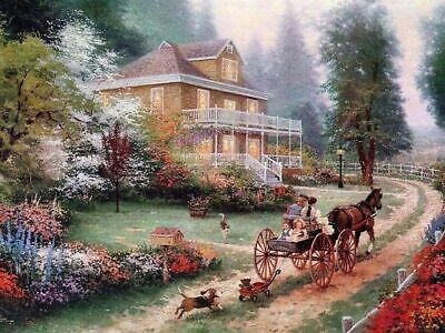 Thomas Kinkade Apple Hill print, beautiful burled frame from Placerville CA