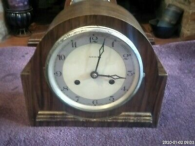 Vintage British Bentima / Perivale Art Deco 8 Day Striking Mantle Clock
