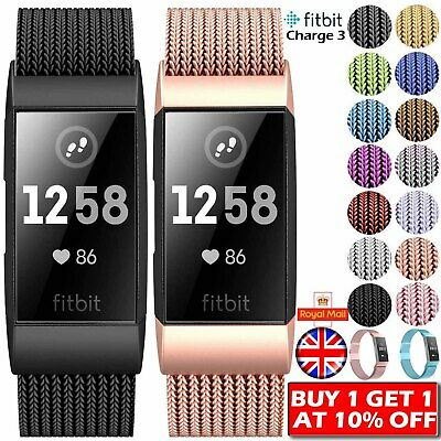 For Fitbit Charge 3 Strap Replacement Milanese Wristbands Stainless Steel Magnet