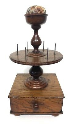 Antique Victorian Oak & Mahogany Bobbin Sewing Stand with Drawer & Pin Cushion