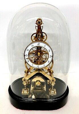 Chain Fusee Gilt Skeleton Clock With Glass Dome After FRANZ DENK IN WIEN