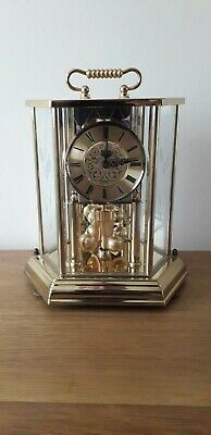 Kundo Vintage Collectable German Brass & Glass Anniversary Clock Flower Decor