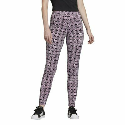 adidas Trefoil Allover Print Tights Magic Berry Black Damen Leggings Pink