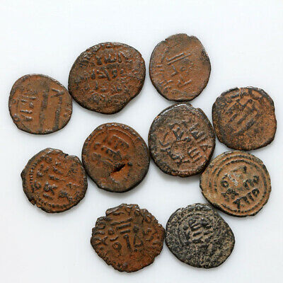 Lot Of 10 Uncertain Medieval Bronze Hammered Islamic Islam Coins