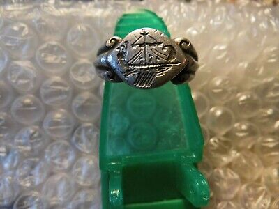 Extremely Rare Ancient Legionary Greek Silver Ship Ring                 #---94.1