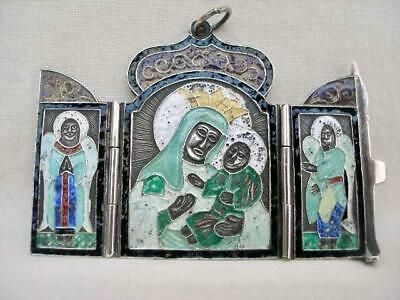 Superb Russian Antique Hallmarked Silver & Enamel Triptych Travelling Icon.
