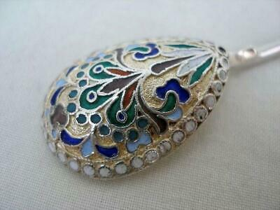 Superb Hallmarked Russian Antique Solid Sterling Silver & Champleve Enamel Spoon