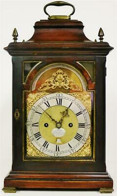 Antique English Mahogany Twin Fusee 1/4 Repeating Musical Verge Bracket Clock
