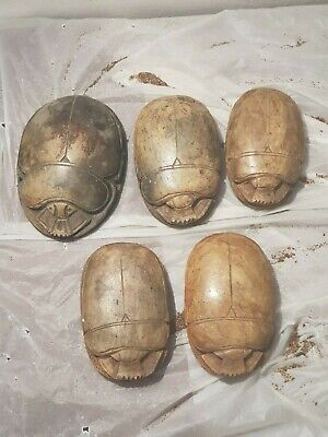 Rare Antique Ancient Egyptian 5 Big HeavScarab Good Luck Hiroglyphic 1870-1790BC