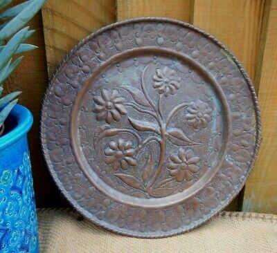Antique Arts & Crafts Hand Hammered Copper Wall Charger~Floral Relief Decoration