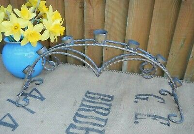 Antique Arts & Crafts Wrought Brass Arched 7 Branch Candle Holder~Candelabra