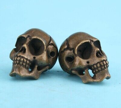 2 Retro China Bronze Statue Miniature Skull Exorcise Collect Old Gift