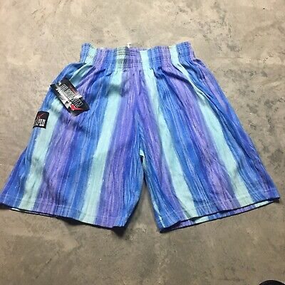 90s VTG nos ALL OVER PRINT BODYBUILDING Shorts Surf Striped Sweat Made USA L