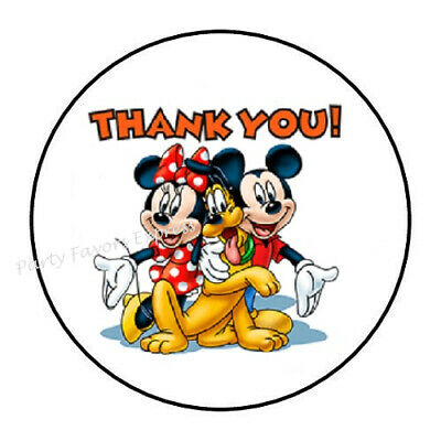 "48 Mickey Minnie Mouse Thank You Envelope Seals Labels Stickers 1.2"" Round"