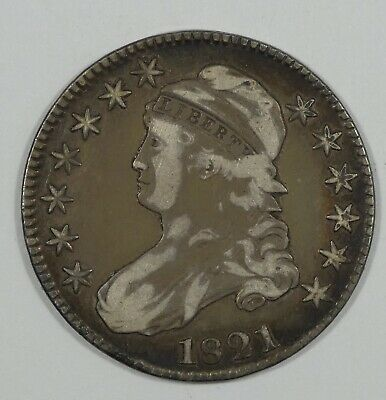 1821 Capped Bust/Lettered Edge Half Dollar VERY FINE Silver 50-Cents