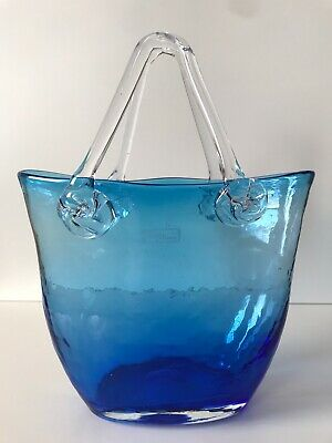 """Art Glass Hand Bag Tote Bag Vase 10"""" Inches By Design Society"""