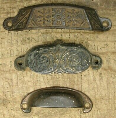 3 Antique Cast Iron & Brass Victorian Eastlake Cup Style Handle Drawer Pull