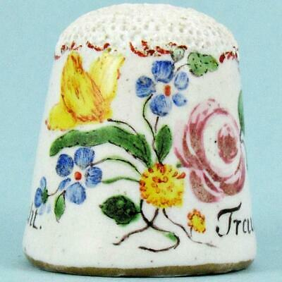 "Antique 18Th Century German ""Just Don't Trust It"" Floral Painted Enamel Thimble"
