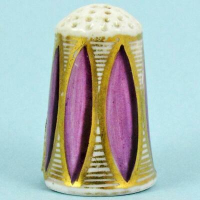 Antique 19Th Century English Georgian Violet Lozenge Gilt Porcelain Thimble