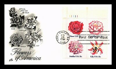 Dr Jim Stamps Us Garden Flowers Of America First Day Cover Plate Block Combo
