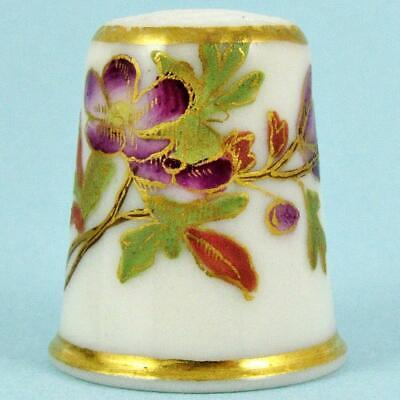Antique 19Th Century Worcester English Gilt Polychrome Floral Porcelain Thimble