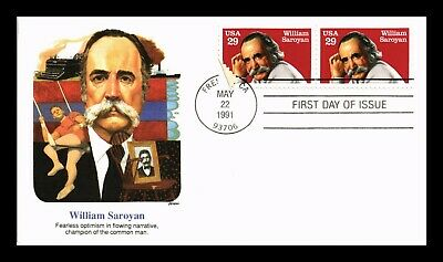 Dr Jim Stamps Us William Saroyan First Day Cover Pair Fleetwood