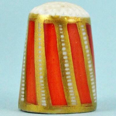 Antique 19Th Century English Alternating Orange & Gilt Painted Porcelain Thimble