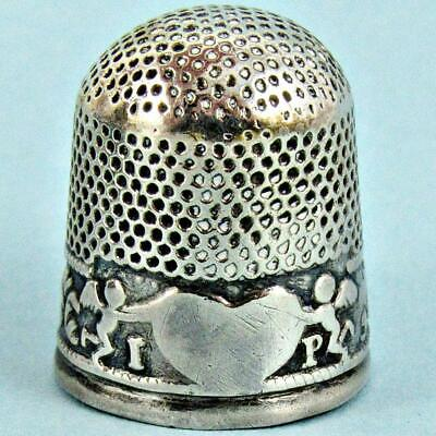 Antique 18Th Century English Georgian Cupids & Heart Sterling Silver Thimble
