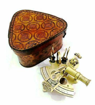 """3"""" Antique Maritime Brass Nautical Sextant Vintage Astrolabe with Leather Box"""