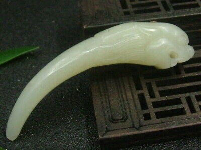 Antique Chinese Nephrite Hetian-OLD Hollow jade Tiger-RUYI Statue/Pendant