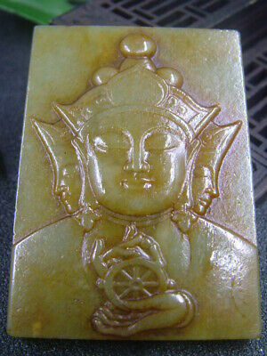 Antique Chinese Nephrite Hetian-OLD Hollow jade TIBET-FO Statue/Pendant