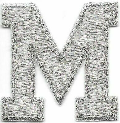 """1 7//8/"""" Bright Metallic Silver Monogram Block letter O Embroidery Patch"""