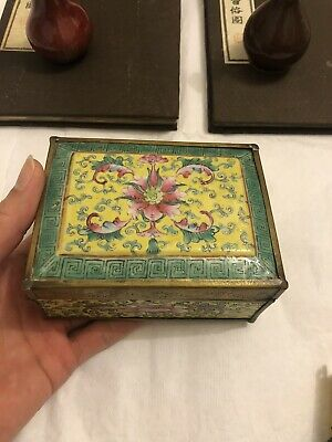 Antique Chinese Export FAMILLE ROSE Porcelain Trinket Box Old Asian China #2