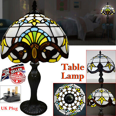 """Tiffany Style Electric Table Lamp Handcrafted Glass Bedside Home Decor 10"""" Shade"""