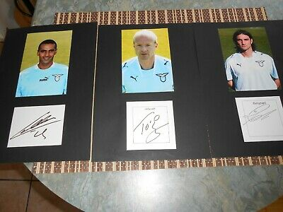 3 LAZIO PLAYERS SIGNED CARDS. MATTED WITH Photo