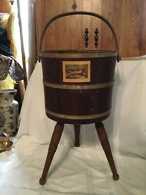Vintage Currier and Ives Wooden Bucket with handle & legs home in the wilderness